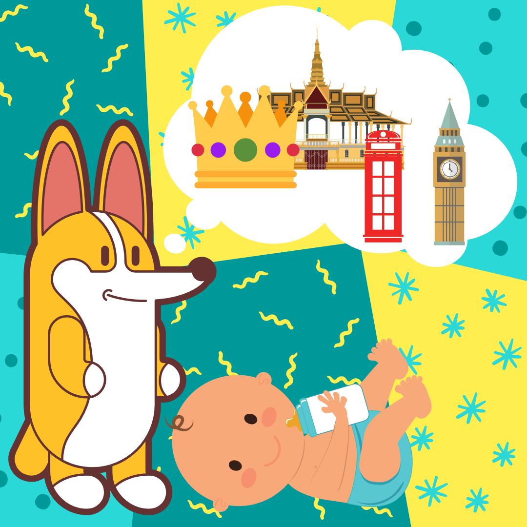 Bajka o corgi - Długa historia krótkiego ogonka - na zdjęciu corgi, dziecko i marzenie podróży co londynu, Sheldoncorgi, blog o psach